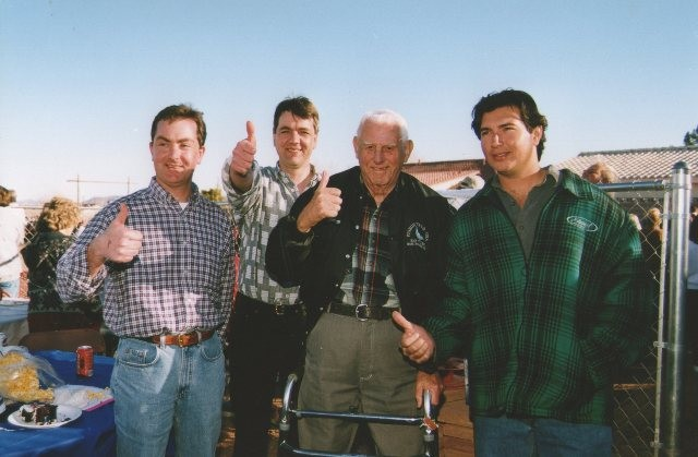Happy Days after the race with from left to right...Brian Fox...Peter Fox...Gene Hamilton...John Timmermans.